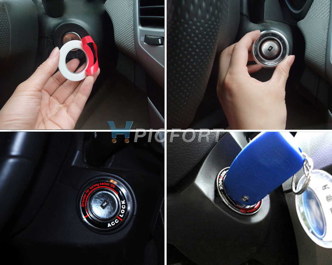 Car ignition key lock keyhole decoration carbon ring protector for chevrolet cruze silver