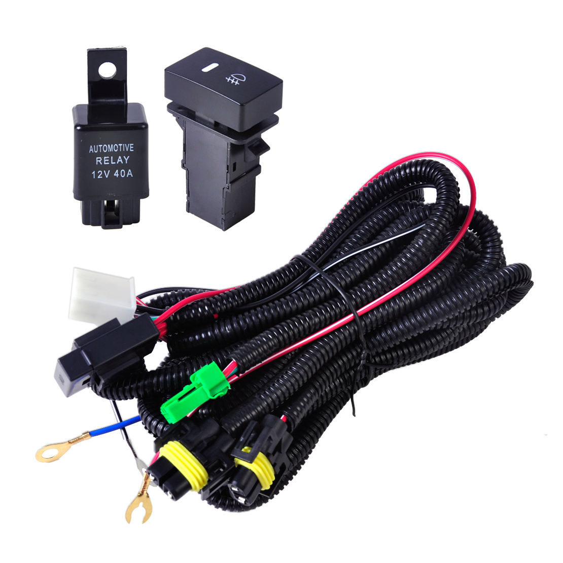 Fog Light Wiring Harness Sockets Wire   Led Indicators Switch   Relay Fit Ford