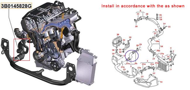 Turbo manguera para skoda superb VW Passat 1.9 TDI 2.0 TDI ref nº 3b0145828k