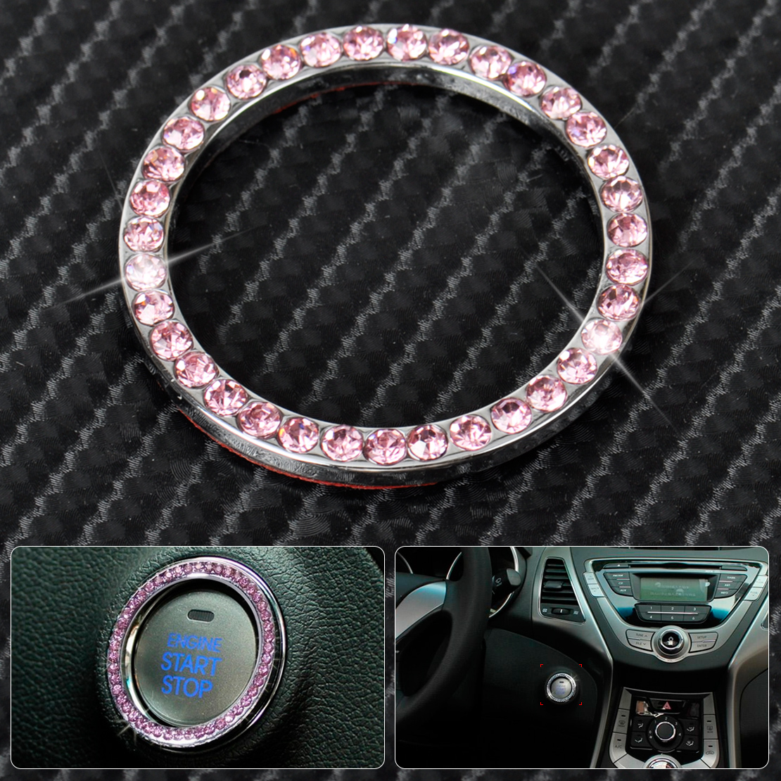 pink one key engine start ignition button diamante ring trim for hyundai buick ebay. Black Bedroom Furniture Sets. Home Design Ideas