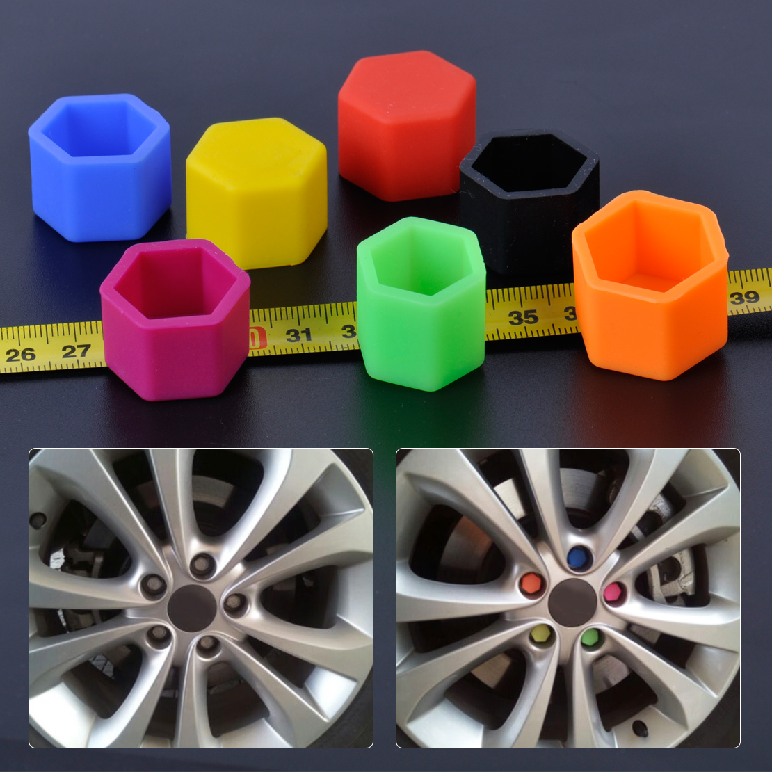 20pcs Universal 21mm Wheel Nut Covers Lug Nut Caps Screw Protector