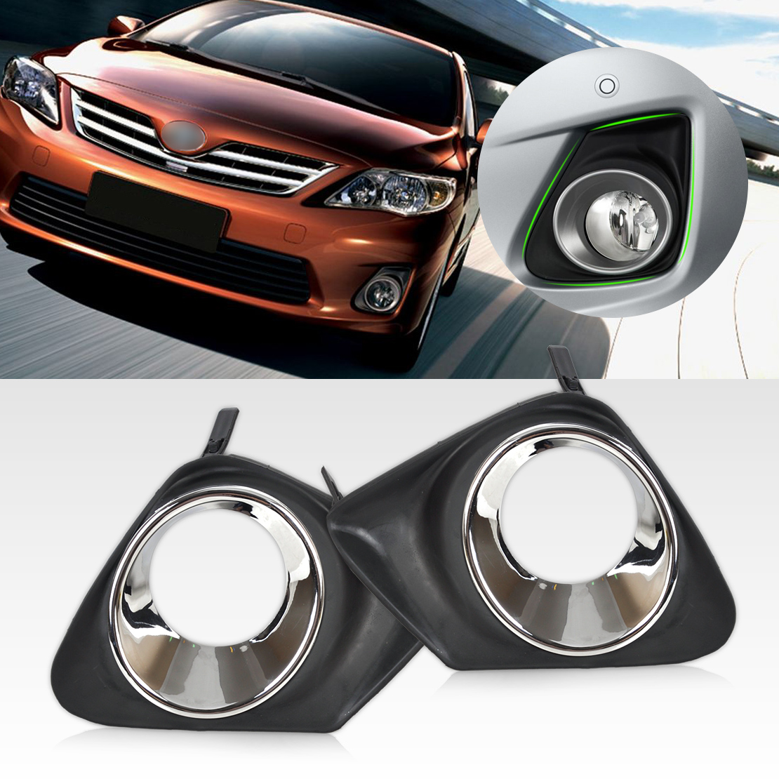 Chrome Front Bumper Fog Light Lamp Cover Grille Grill for 2011-13 Toyota Corolla