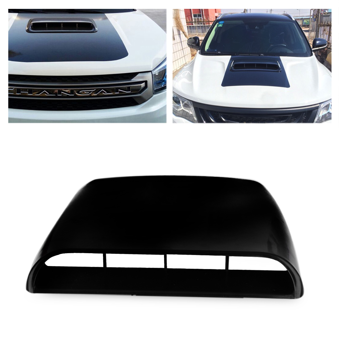 Universal Black Car Decorative Air Flow Intake Hood Scoop Vent Bonnet Cover 728360675118 | eBay