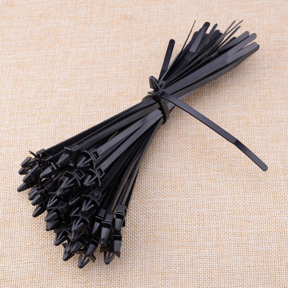 50pcs 200mm Car Nylon Cable Strap Push Mount Wire Tie Retainer Clip Clamp Black
