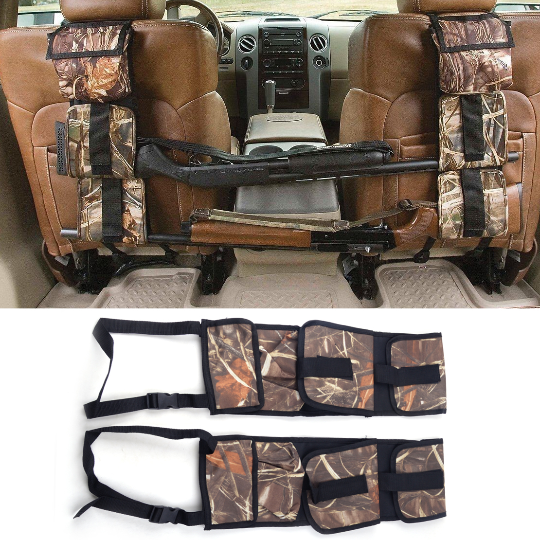 2pcs Seat Back Gun Rack Rifle Shotgun Vehicle Car SUV Pickup Trucks Storage