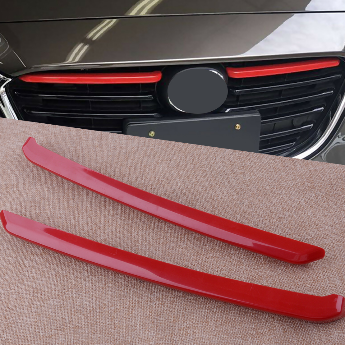Details about  /2x Red Front Bumper Grille Grill Cover Trim Fit For Mazda 3 Axela 2017-2018 New