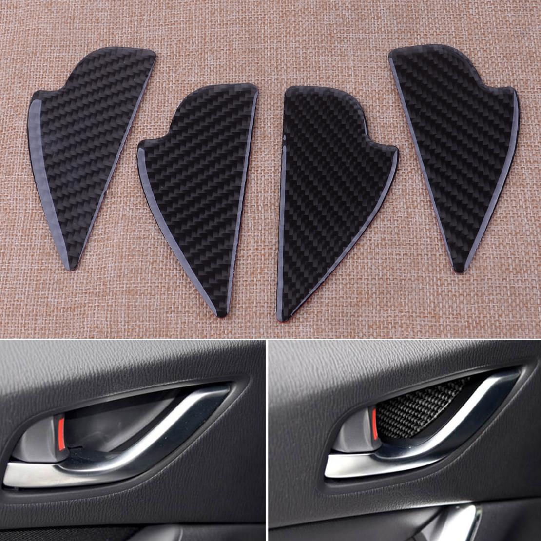 4x For Mazda3 MAZDA 6 CX-5 CX-3 CX-9 Carbon Fiber Inner Door Handle Bowl Cover