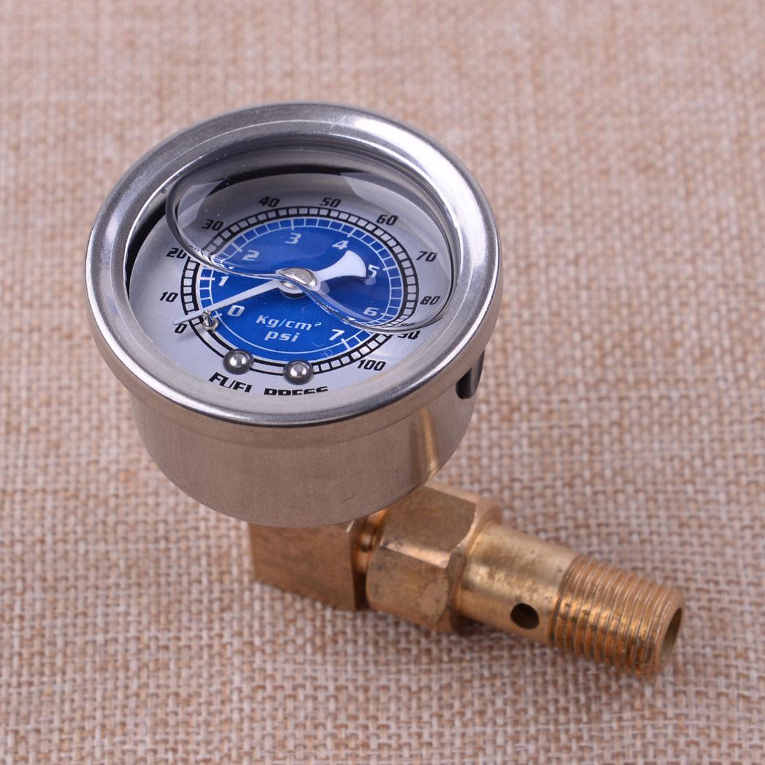 Car Fuel Pressure Liquid Filled Gauge Adapter Kit Blue Fit