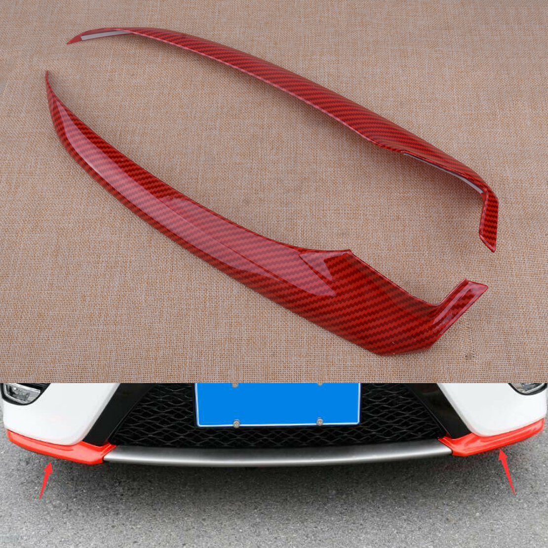 Red Front Bumper Lip Spoiler Cover Trim For Toyota Camry