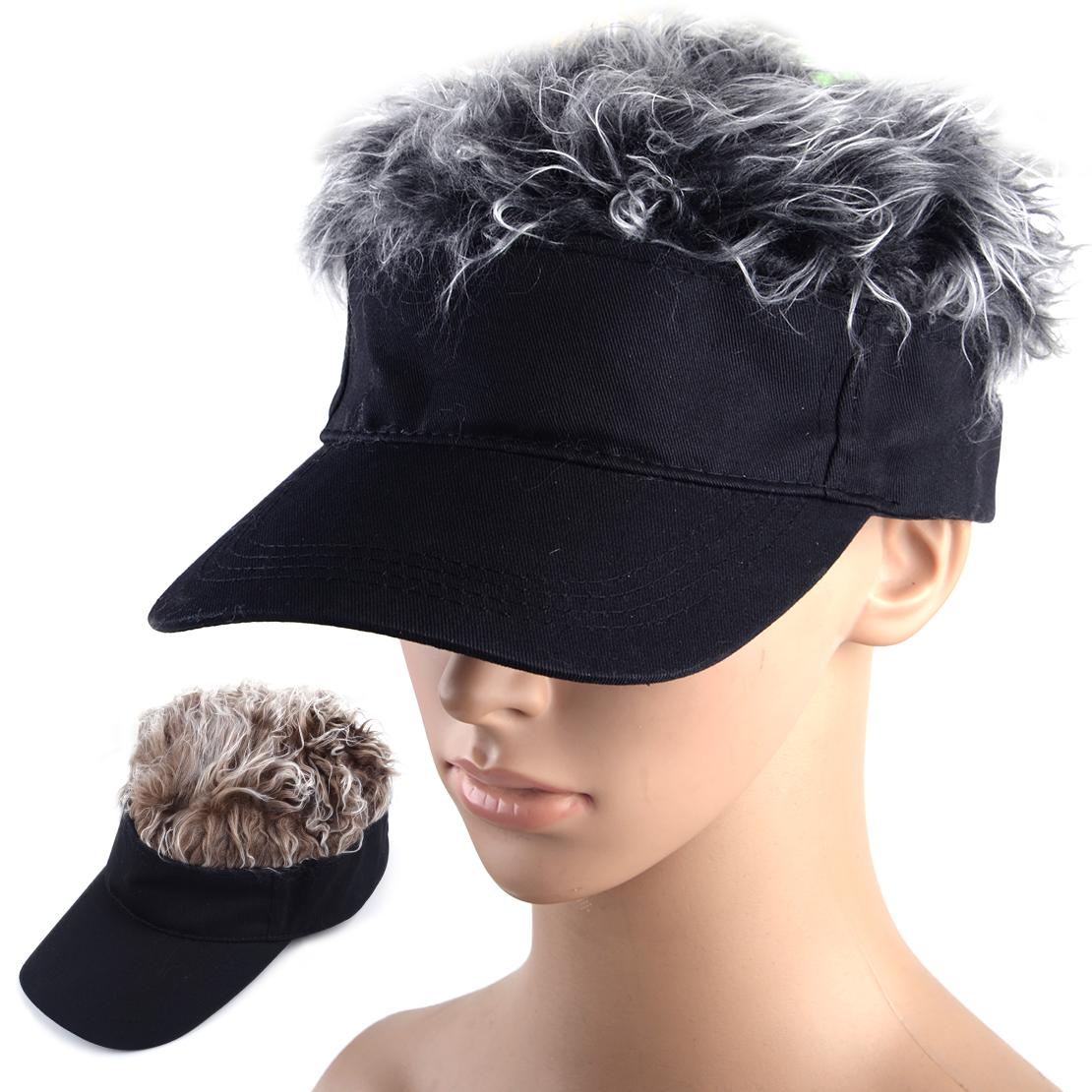 BROWN BLACK Toupee Wig Hairpiece Baseball Hat Sun Visor Cap Hook Loop rt