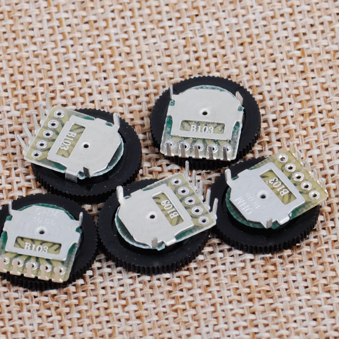 5 pcs Volume Dial Dual Wheel Duplex Potentiometer B103 10K Radio 2 Channel Stere