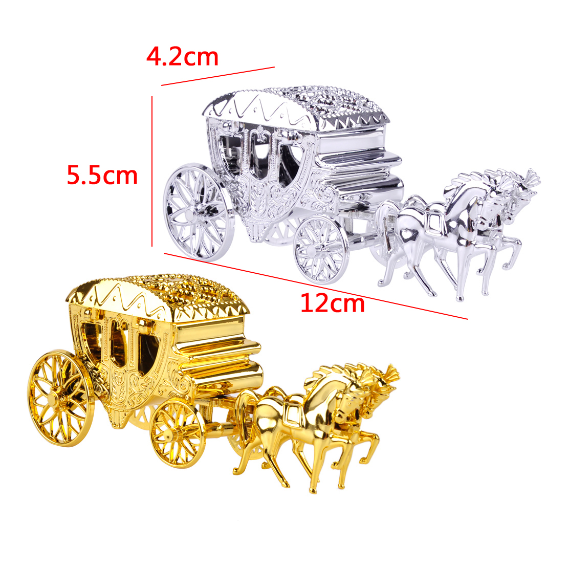 2x Gold Silver Carriage Candy Chocolate Boxes Party Birthday Wedding ...