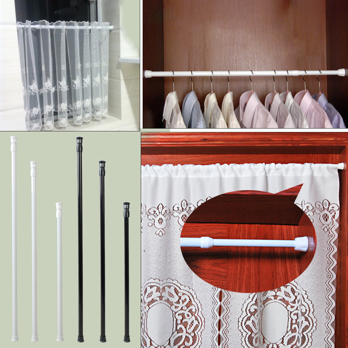 Details About Extendable Carbon Steel Spring Tension Rod Pole Shower Curtain Window Adjustable