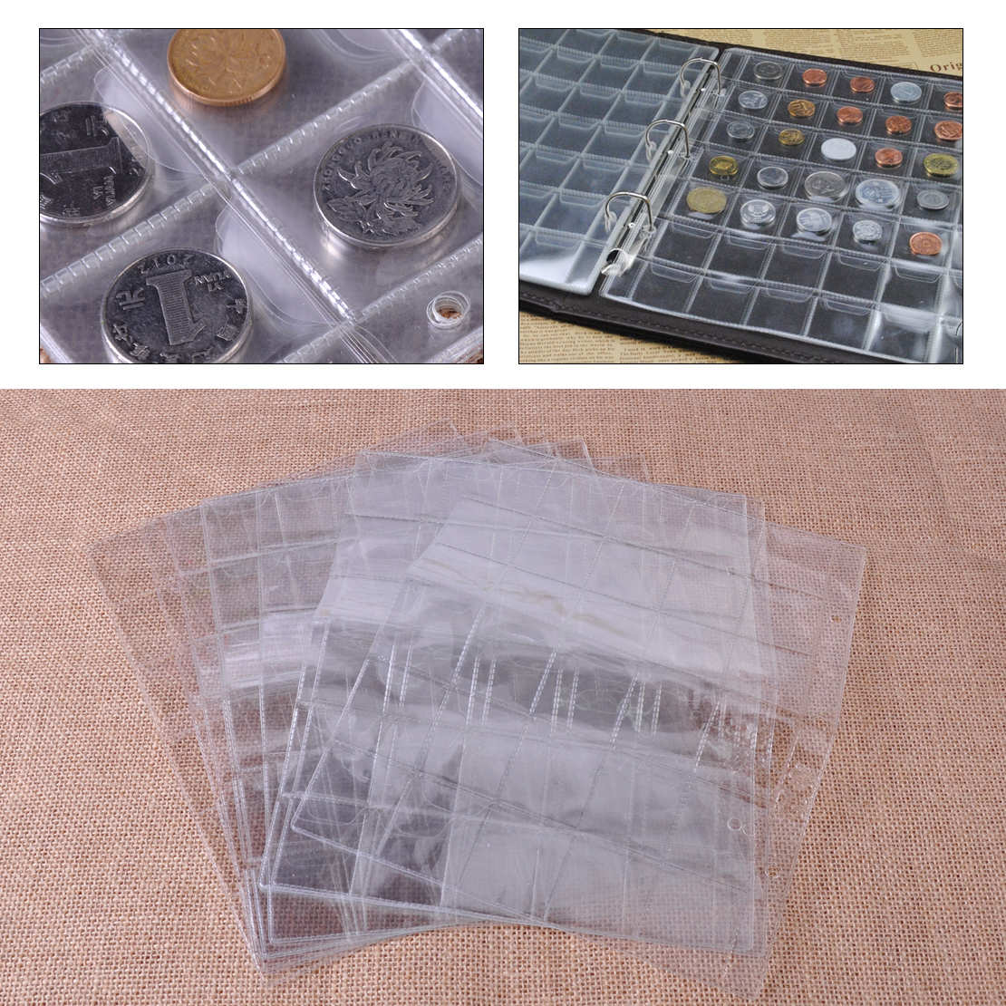 10X Pages 30 Pockets Plastic Coin Holders Collection Storage Money Album Cases
