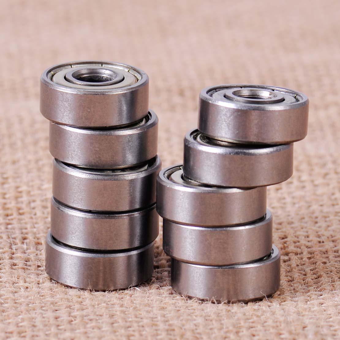 10Pcs Metal 606ZZ Miniature Deep Groove Shielded Ball Bearings 6*17*6 CYC