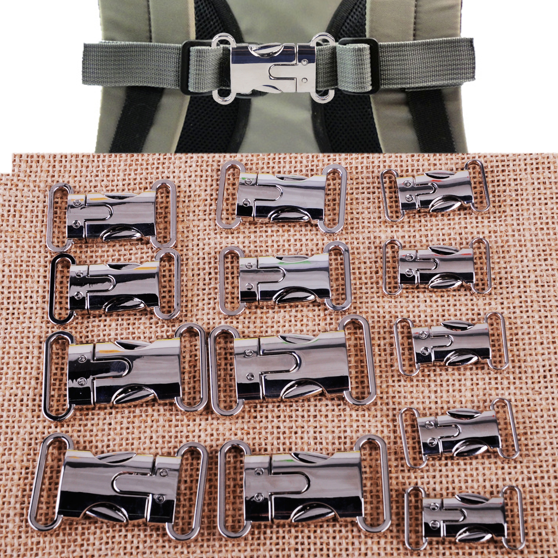 5pcs Metal Side Release Buckles Clips For Bags Straps Hiking Paracord Bracelet
